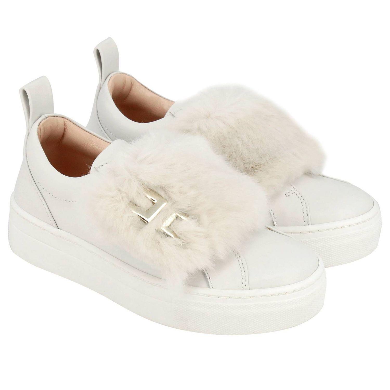 new style 5982a ce236 ELISABETTA FRANCHI Sneakers slip on panna con pelliccia