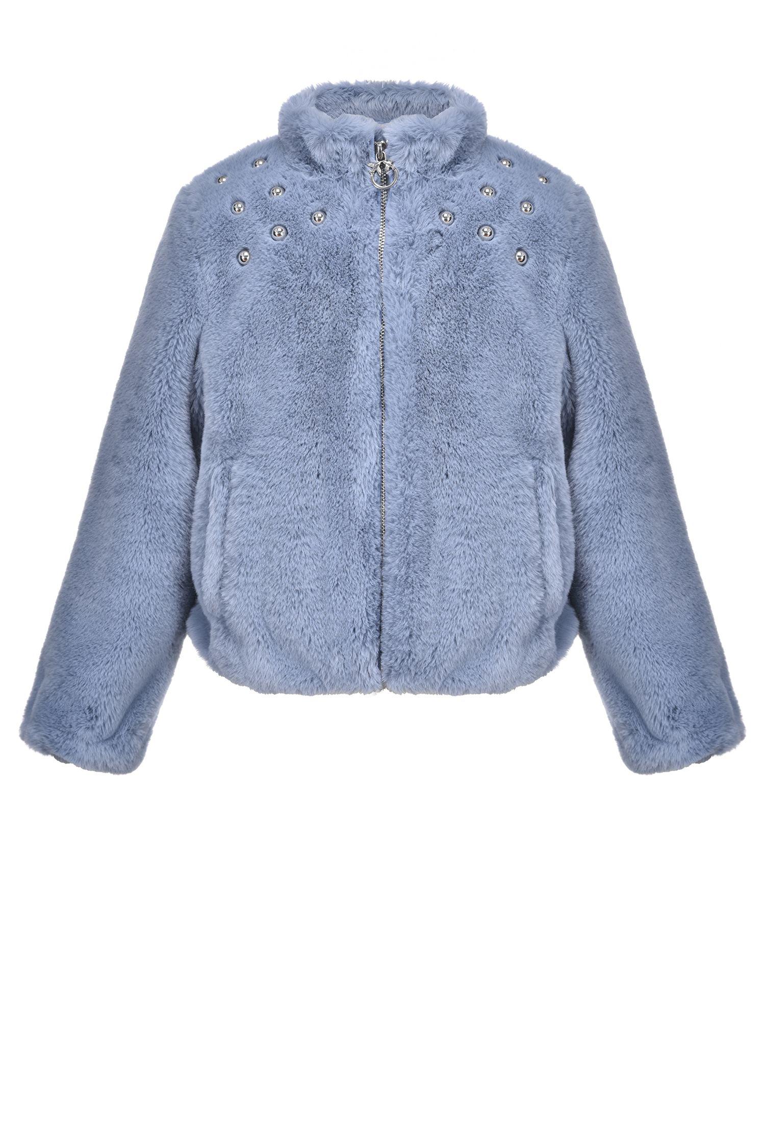 wholesale outlet best sneakers new arrivals PINKO Giubbino in ecopelliccia con borchie azzurro bambina
